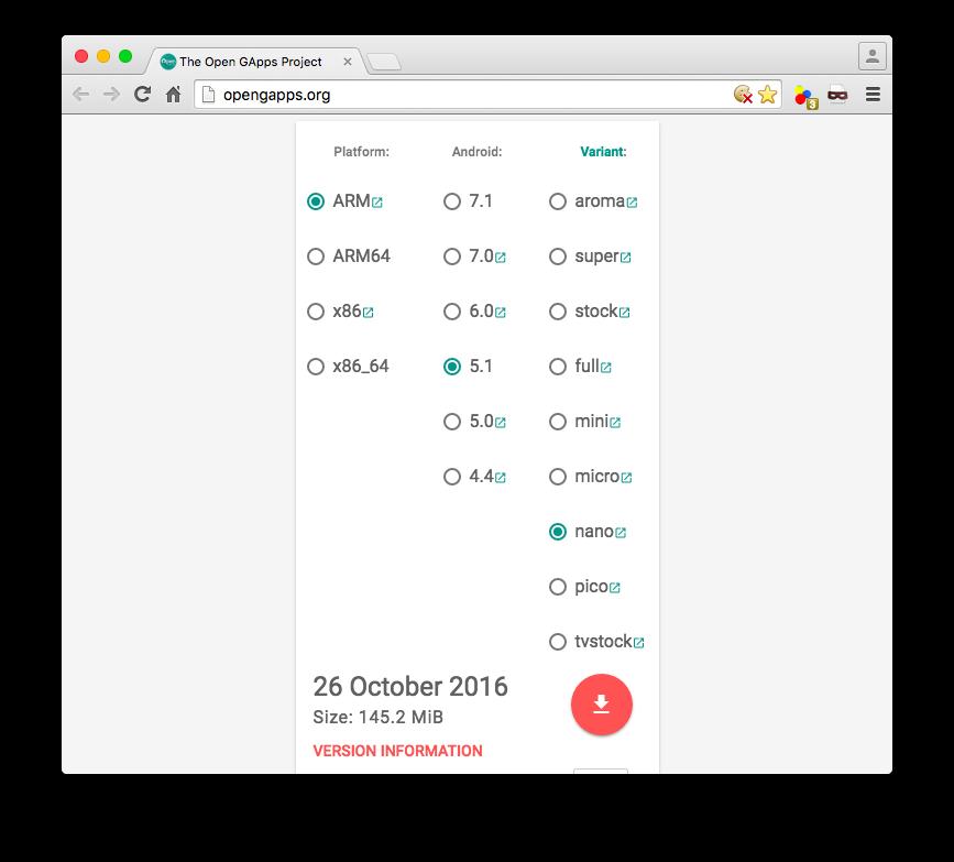 gappsのダウンロードサイト。ARM – 5.1 – nanoを選択してダウンロード