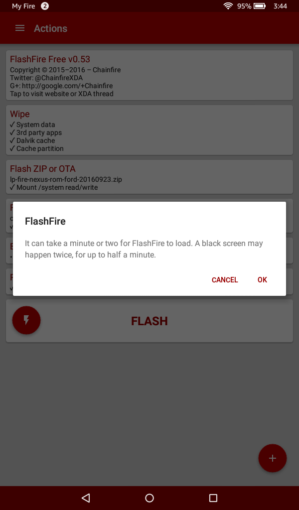 「OK」を押すと、FLASHの処理が始まります。あとは、無事にAOSPが上がってくることを祈る?のみ(笑)
